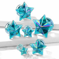 PAIR Glass Plugs Blue Aurora Borealis Star Double Flare