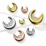 PAIR Floral Filigree Saddle Ear Spreader Surgical Steel Tunnels Plugs Gauges