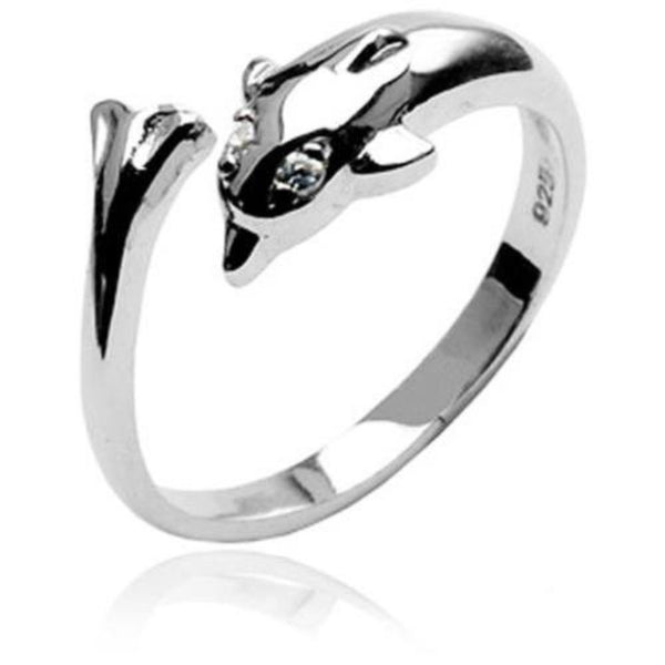 .925 Sterling Silver Dolphin W/ Clear CZ Gem Eyes Toe Ring