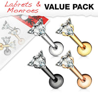 4pc Value Pack Prong Set Triangle Gem Labrets Cartilage Stud Internally Threaded