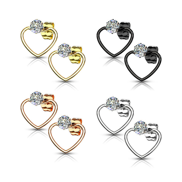 1c0cc0118 ... PAIR of CZ Gem Solitaire IP Stainless Steel 20g Earrings w/ Heart ...
