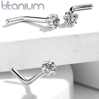 1pc Solid Grade 23 Titanium L-Bend Nose Ring w/ Star CZ Gem
