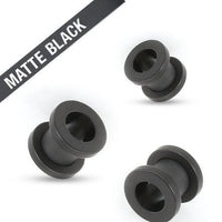 PAIR Screw Fit Tunnels Black Matte Ion Plated Ear Plugs Earlets Gauges
