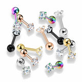 1pc Round CZ Gem Ion Plated Tragus Stud Helix Cartilage Ring Earring 16g 1/4""