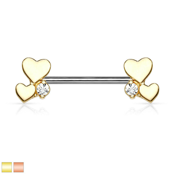 PAIR Heart Cluster Ends Nipple Rings Shields Barbells Body Jewelry