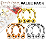 3 PAIR Value Pack Steel, Gold and Rose Gold Circular Barbells Horseshoes
