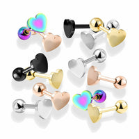 1pc Flat Heart Top Helix Tragus Cartilage Bar Stud Earring 316L Surgical Steel