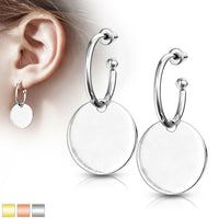 PAIR of Hoop Stud Earrings w/ Round Plate Dangle 20g Stainless Steel