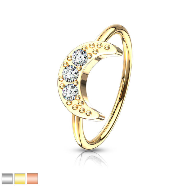 1pc Bendable Hoop / Cartilage Ring CZ Gem Crescent Moon for Nose, Rook, Daith