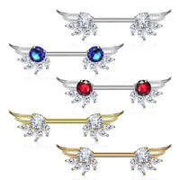 PAIR Marquise Gem Angel Wings Nipple Rings Shields