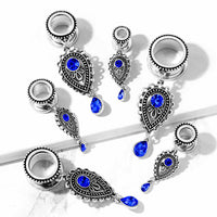 PAIR Sapphire Blue Stone Teardrop Dangle Tunnels Screw Fit Plugs Earlets Gauges