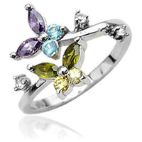 .925 Sterling Silver Multicolored Butterfly CZ Gems Toe Ring