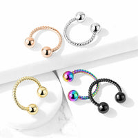 1pc Twisted Rope Style Circular Barbell Horseshoe Septum, Eyebrow, Nipple Ring