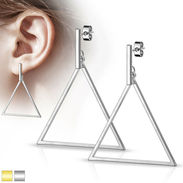PAIR of Bar & Triangle Dangle 20g Earrings Studs Stainless Steel