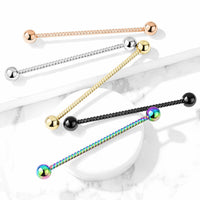 "1pc Twisted Rope Style 38mm 1.5"" Industrial Barbell Ear Cartilage Body Jewelry"