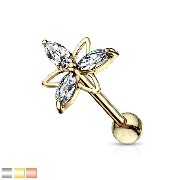 1pc Marquise Gem Double Triangle Flower Tragus Helix Cartilage Barbell Ring