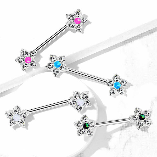 PAIR CZ Gem Flower w/ Opal Glitter Center Nipple Rings Shields Steel Barbells