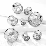 PAIR Cut Out Swirl Front Steel Double Flare Tunnels Ear Plugs Earlets Gauges
