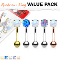 5pc Value Pack Prong Set Opal Surgical Steel Eyebrow Rings
