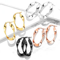 PAIR of Twisted Oval Hoop Earrings 22g Ion Plated Stainless Steel
