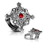 PAIR Heart Filigree w/ Red Gem Tunnels Plugs