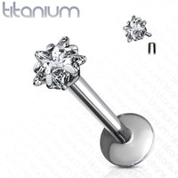 1pc Internally Threaded Solid Titanium Star Gem Labret, Monroe Stud Lip Ring