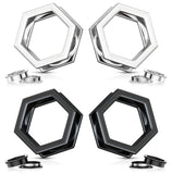 PAIR Hexagon 316L Surgical Steel Screw Fit Tunnels Plugs, Black or Silver