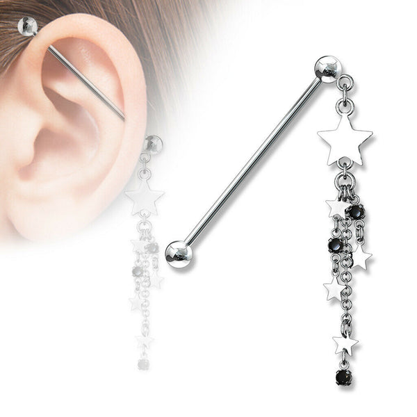 "1pc Star & Chains Industrial Barbell 14g, 1.5"" 38mm 1&1/2"" Ear Body Jewelry"