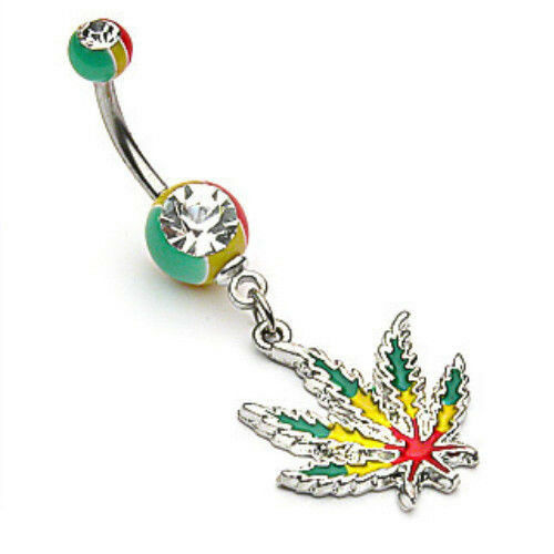 Rasta Pot Leaf Jamaican Gem Belly Ring Navel