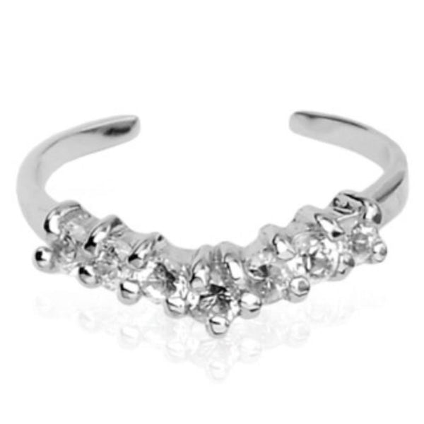 .925 Sterling Silver Seven CZ Gem Adjustable Toe Ring