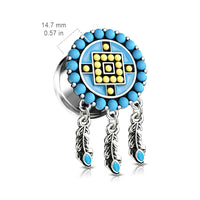 PAIR Aztec Turquoise Dream Catcher Dangle Double Flare Tunnel Plugs Gauges