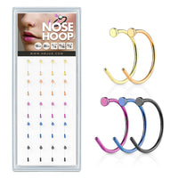 20ct Nose Hoops Display 316L Surgical Steel Nostril Piercings 5 Colors!