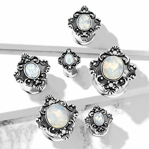 PAIR Oval Opalite Stone Filigree Tunnels Surgical Steel Plugs Earlets Gauges