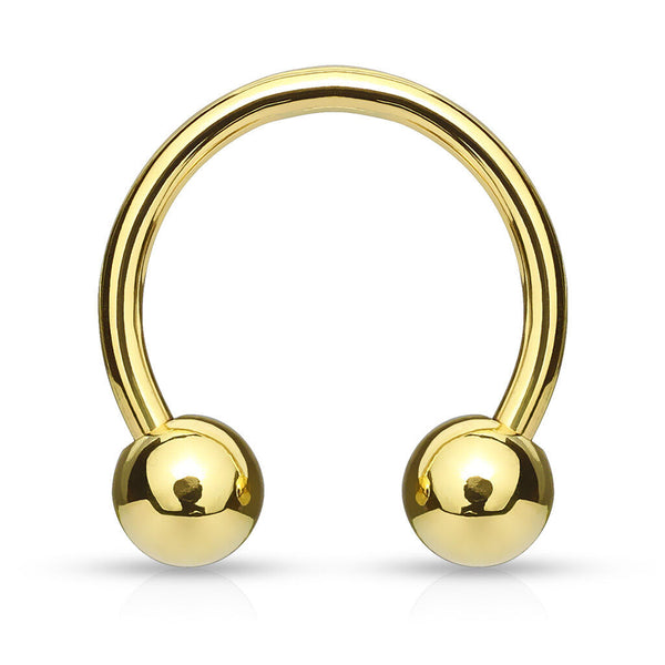 1pc Gold Plated Circular Barbell Horseshoe Septum, Nipple, Eyebrow Ring