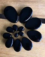 PAIR Teardrop Black Onyx Stone Plugs Tear Drop Ear Piercing Earlets Gauges
