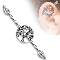 1pc Tree of Life Centered w/ Leaf Ends Industrial Barbell
