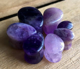 PAIR Teardrop Amethyst Stone Plugs Amythest Tear Drop Organic Ear Piercing Gauge