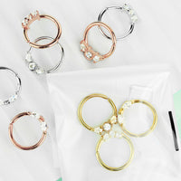 3pc Value Pack: 16g Bendable CZ Gem Septum / Cartilage Rings, w/free Retainer!