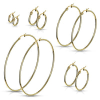 PAIR of Round Hoop Earrings 22g Gold Ion Plated Stainless Steel