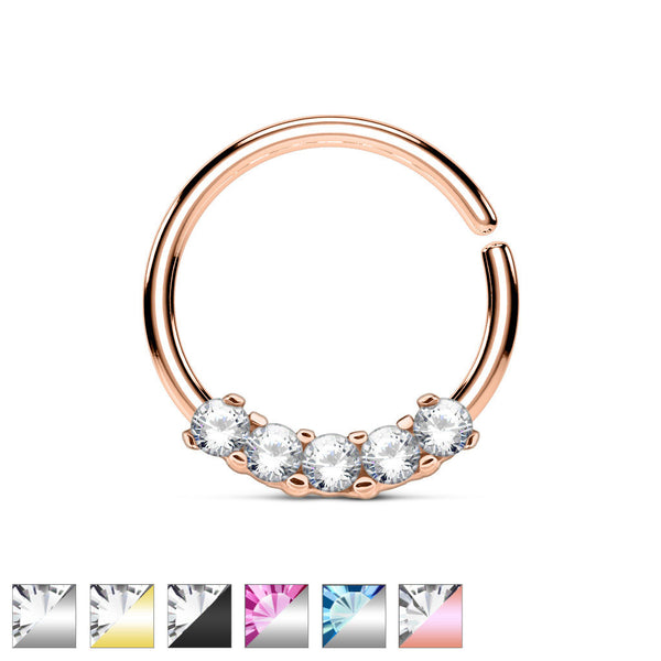 1pc Five CZ Gem Bendable Hoop Ring for Nose Septum, Daith, Ear Cartilage