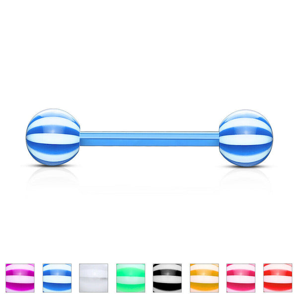 PAIR Flexible Barbell Nipple or Tongue Rings PTFE Candy Striped NO METAL