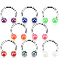 PAIR Aurora Borealis Coated Circular Barbell Horseshoes Lip Nipple Septum Rings