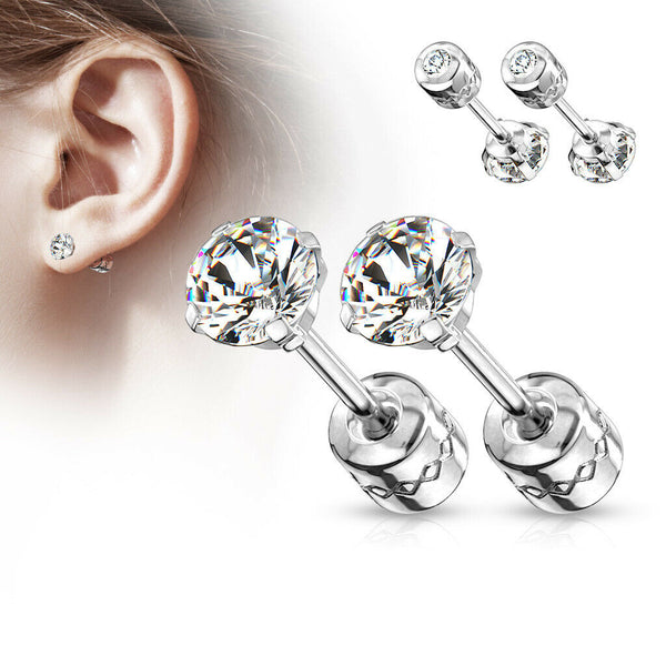 PAIR Prong Set CZ Gem Stud Earrings w/ Gem Centered Screw Back Surgical Steel
