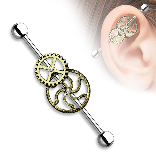 1pc Burnished Gold Steampunk Centered Industrial Barbell