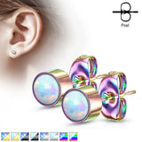 PAIR of Round Opal Bezel Set Earrings 20g 316L Stainless Steel