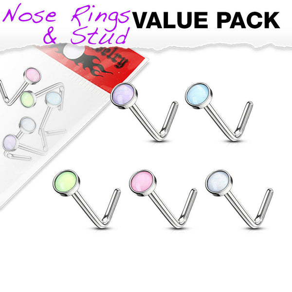 5pcs Illuminating Stone L-Bend 20g Nose Rings Surgical Steel Value Pack