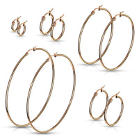 PAIR of Round Hoop Earrings 22g Rose Gold Ion Plated Stainless Steel
