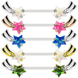 PAIR Opal Glitter Gem Shooting Star Nipple Rings Shield