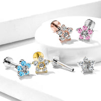 1pc Double Tier Gem Flower Labret 16g Internally Threaded Helix Tragus Cartilage
