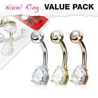 3pc Value Pack Tear Drop Prong Set CZ Gem Gold Plated Belly Rings Navel Naval